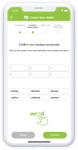 confirm backup passphrase